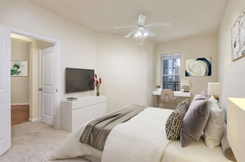 Bedroom with home office space at Camden College Park Apartments in College Park, MD