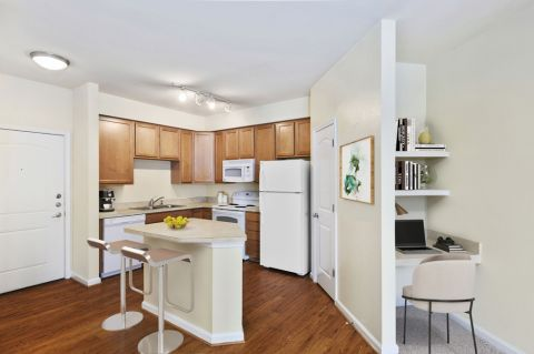 Kitchen with Built-In Desk at Camden College Park Apartments in College Park, MD