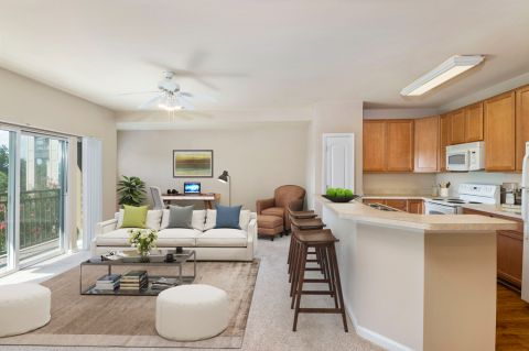 Kitchen and Living Room with Home Office Space at Camden College Park Apartments in College Park, MD