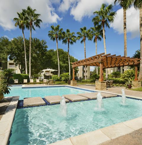 Resort-style Pool with Gazebo and Sundeck at Camden Copper Ridge Apartments in Corpus Christi, TX