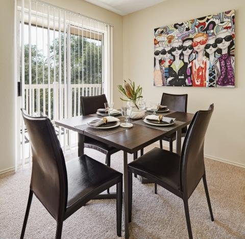 Dining Room with Private Patio at Camden Copper Ridge Apartments in Corpus Christi, TX