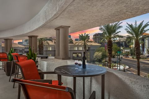 Outdoor Lounge with City Views at Camden Copper Square Apartments in Phoenix, AZ