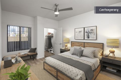 Main Bedroom with Wood Style Floor and Walk-in Closet at Camden Copper Square Apartments in Phoenix, AZ