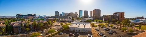 Exterior of Building and City Views at Camden Copper Square Apartments in Phoenix, AZ