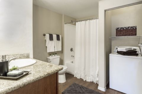 Bathroom with Laundry Area at Camden Copper Square Apartments in Phoenix, AZ