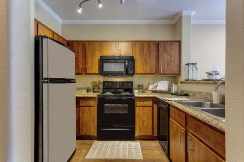 Kitchen with Black Appliances at Camden Copper Square Apartments in Phoenix, AZ