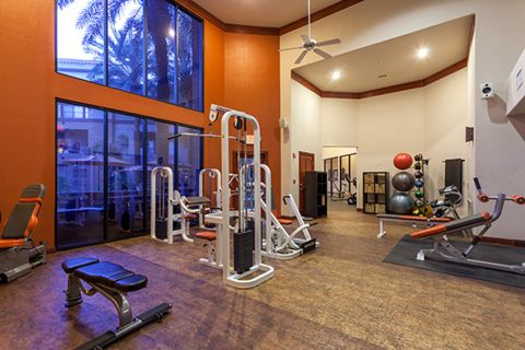 Fitness Center with Strength Training Equipment at Camden Copper Square Apartments in Phoenix, AZ