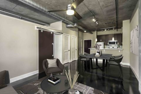 Open Living and Kitchen at Camden Cotton Mills Apartments in Charlotte, NC