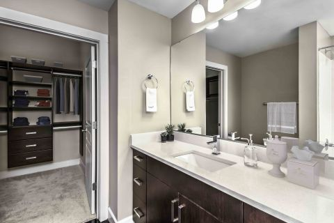 Bathroom and Walk In Closet at Camden Cotton Mills Apartments in Charlotte, NC