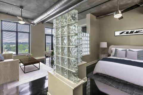 Studio living at Camden Cotton Mills Apartments in Charlotte, NC