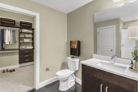 Bathroom with Stand-Up Shower and Closet at Camden Cotton Mills Apartments in Charlotte, NC