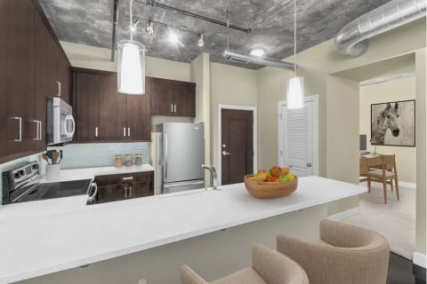 Floor Plan with Dedicated Den at Camden Cotton Mills Apartments in Charlotte, NC