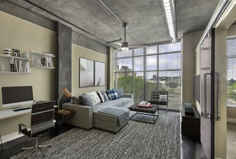 Work From Home Space in Open-Concept Floor Plan at Camden Cotton Mills Apartments in Charlotte, NC