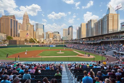 Truist Ballpark walking distance from Camden Cotton Mills Apartments in Charlotte, NC