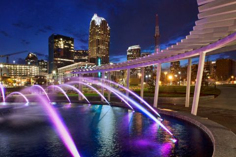 First Ward Park at night in Uptown Charlotte near Camden Cotton Mills Apartments in Charlotte, NC