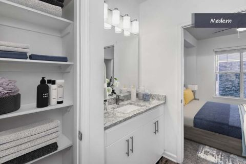 Modern Style Bathroom at Camden Crest Apartments in Raleigh, NC