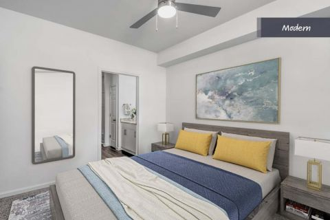 Modern Style Bedroom at Camden Crest Apartments in Raleigh, NC
