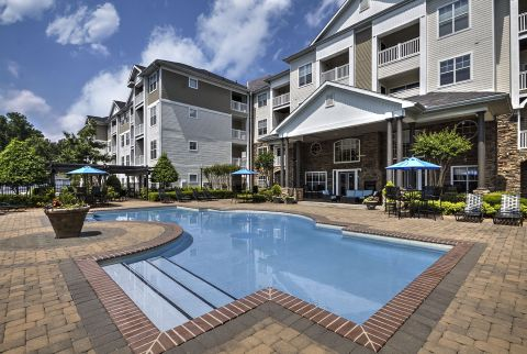 Pool at Camden Crest Apartments in Raleigh, NC