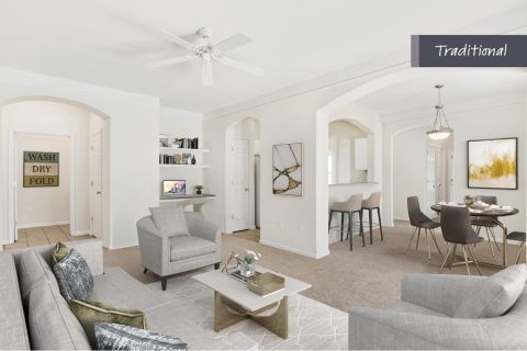 Traditional Style Living and Dining at Camden Crest Apartments in Raleigh, NC