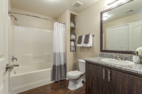 Bathroom at Camden Crown Valley Apartments in Mission Viejo, CA