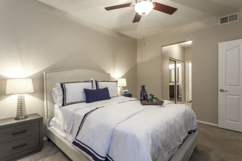 Bedroom and Bathroom at Camden Crown Valley Apartments in Mission Viejo, CA