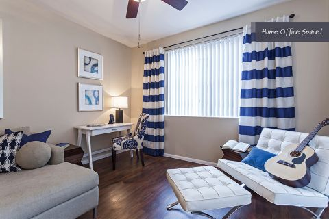 Living Room with Home Office Space at Camden Crown Valley Apartments in Mission Viejo, CA