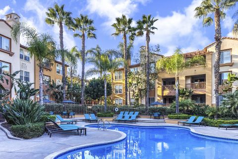 Swimming Pool with Lounge Chairs at Camden Crown Valley Apartments in Mission Viejo, CA