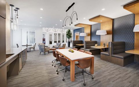 Community workspace at Camden Cypress Creek Apartments in Cypress, TX