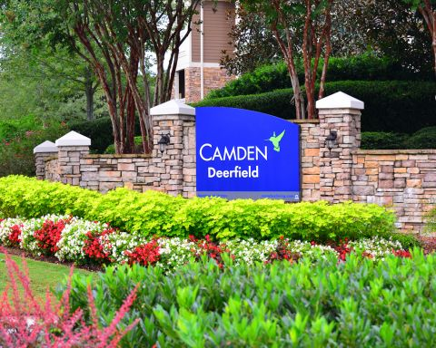 Monument Sign at Camden Deerfield Apartments in Alpharetta, GA
