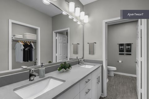 Apartment Double Vanity Bathroom at Camden Deerfield Apartments in Alpharetta, GA