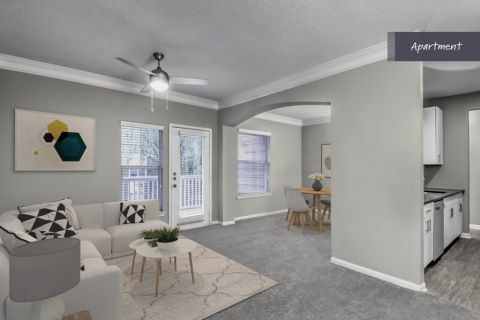 Apartment Living Room at Camden Deerfield Apartments in Alpharetta, GA