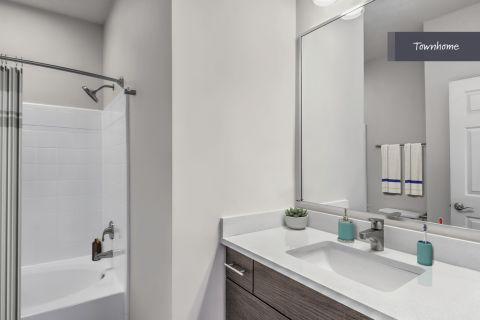 Townhome Bathroom at Camden Deerfield Apartments in Alpharetta, GA