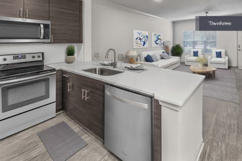 Townhome Kitchen at Camden Deerfield Apartments in Alpharetta, GA