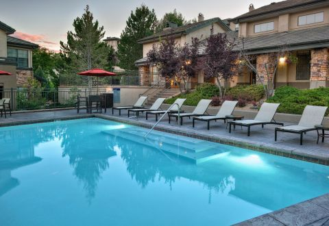 Pool with Outdoor Lounge at Camden Denver West Apartments in Golden, CO