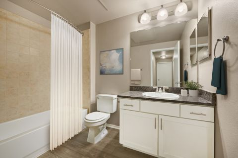 Bathroom at Camden Denver West Apartments in Golden, CO