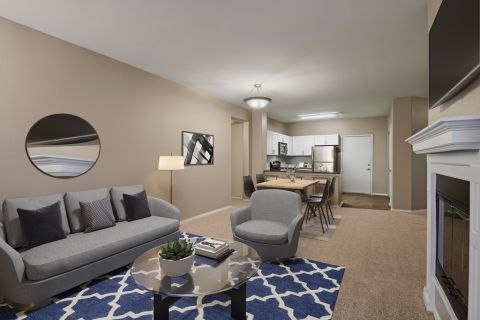 Living Room at Camden Denver West Apartments in Golden, CO