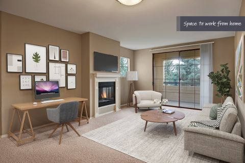 Living room and home office space at Camden Denver West Apartments in Golden, CO