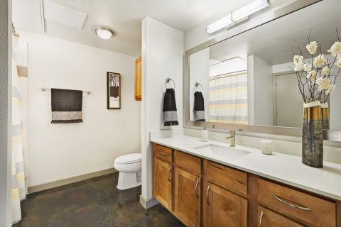 Bathroom with Concrete Flooring at Camden Design District Apartments in Dallas, TX