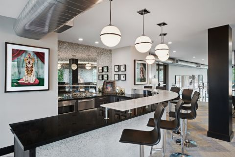 Clubroom with Entertaining Kitchen at Camden Design District Apartments in Dallas, TX