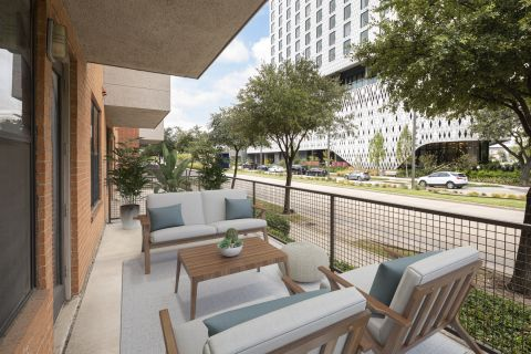 Spacious patio at Camden Design District Apartments in Dallas, TX