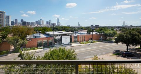 View of Downtown Dallas from Balcony at Camden Design District Apartments in Dallas, TX