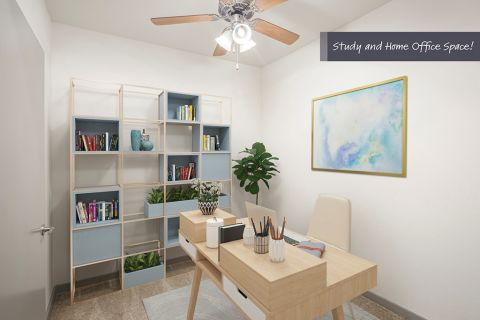 Study and home office space at Camden Design District Apartments in Dallas, TX