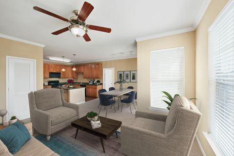 Living Room and Dining Space at Camden Downs at Cinco Ranch Apartments in Katy, TX
