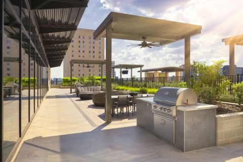 BBQ grills at Camden Downtown Houston Apartments in Houston, Texas