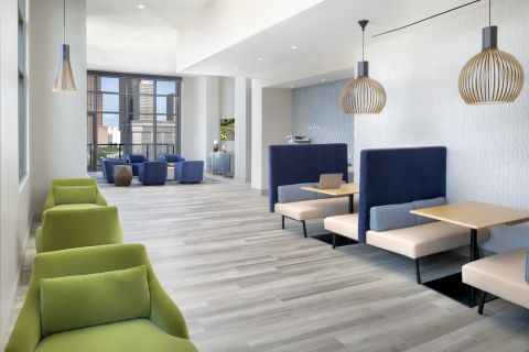 Community workspace at Camden Downtown Houston Apartments in Houston, Texas