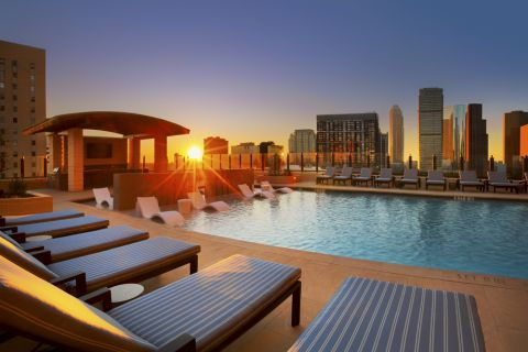 Swimming Pool at sunset at Camden Downtown Houston apartments in Houston, Texas