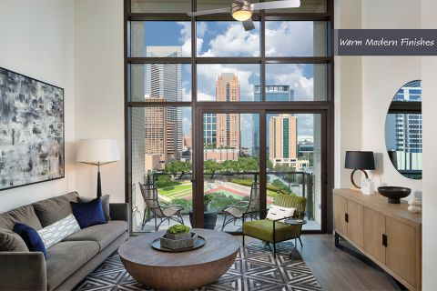 Spacious living Room in Warm Modern Finish Scheme at Camden Downtown Houston Apartments in Houston, Texas