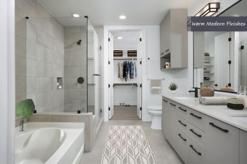 Bathroom with Glass Enclosed Shower, Soaking Bathtub, and Walk-In Closet in Warm Modern Finish Scheme at Camden Downtown Houston Apartments in Houston, Texas