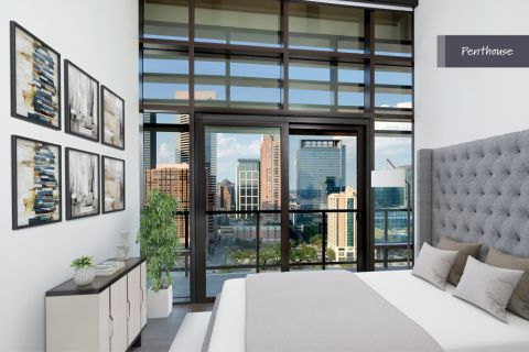 Penthouse Bedroom at Camden Downtown Houston Apartments in Houston, Texas