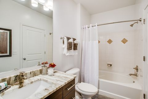 Upgraded Bathroom at Camden Dulles Station Apartments in Herndon, VA